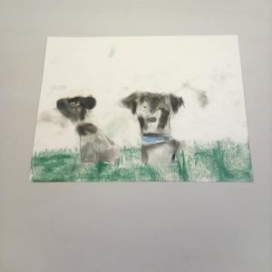 Painting of two black and white dogs lying in the grass