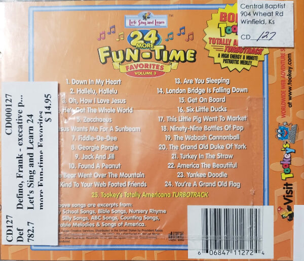 "Back Cover of the CD, ""24 More Fun-Time Favorites, Volume 3"""