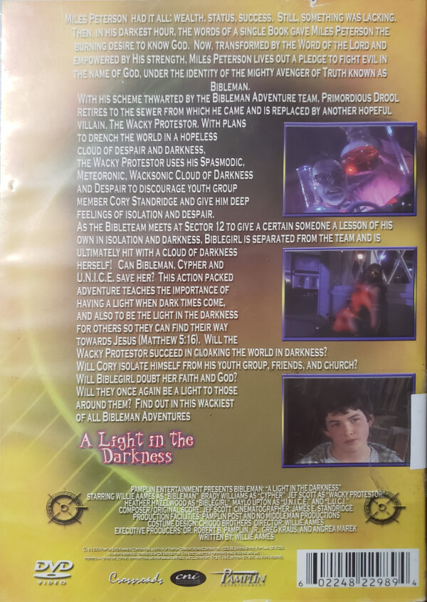 """Back Cover of the DVD, """"A Light In The Darkness"""""""