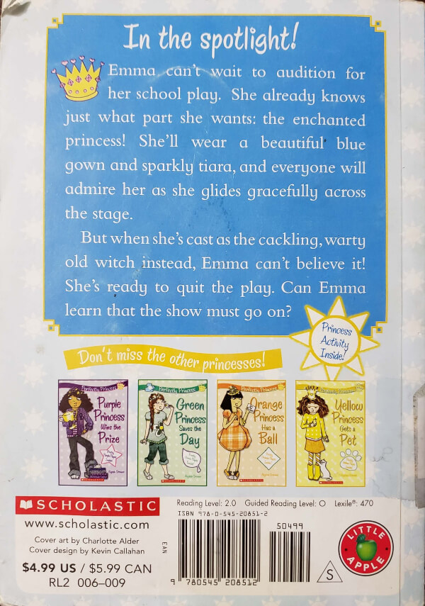 """Back Cover of the Book, """"Blue Princess Takes The Stage"""""""