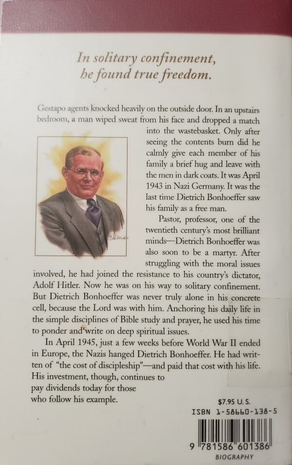 """Back Cover of the Book, """"Dietrich Bonhoeffer"""""""