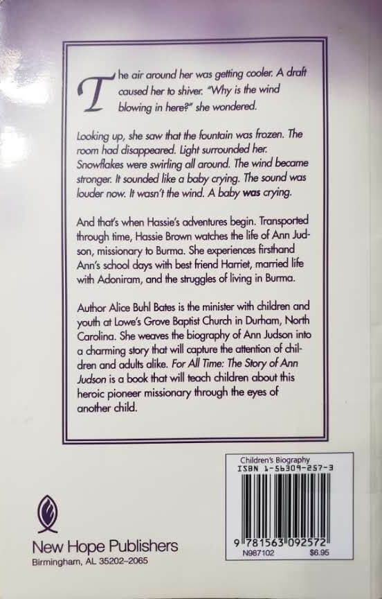 "Back Cover of the Book, ""For All Time"""