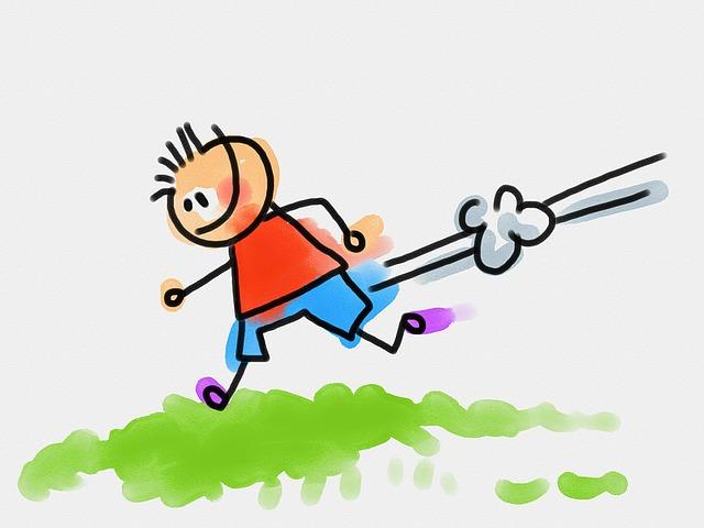 cartoon drawing of a boy running in the grass