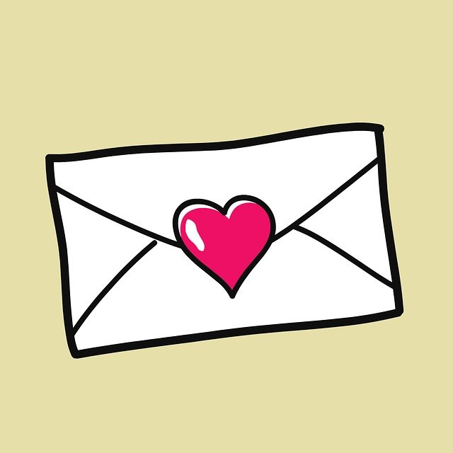 Cartoon image of an envelope sealed with a heart