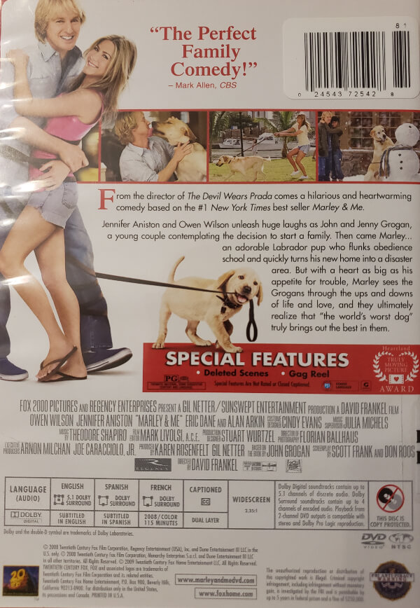 """Back Cover of the DVD, """"Marley & Me"""""""