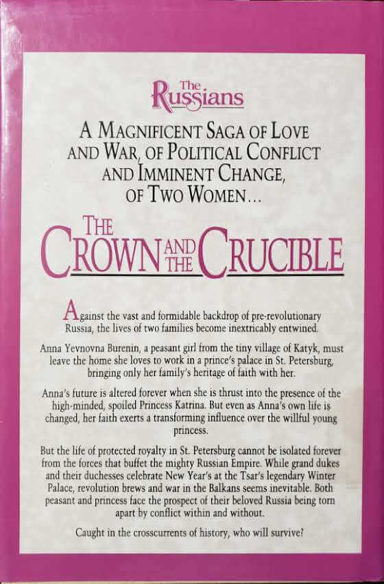"""Back Cover of the Book, """"The Crown and the Crucible"""""""