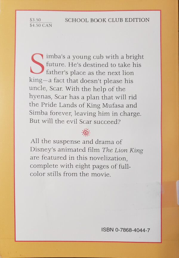 "Back Cover of the Book, ""The Lion King"""